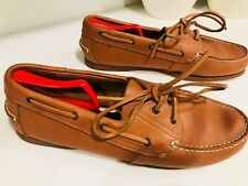 Stone Creek Brown Leather Shoes Men's Size 12 lace-Up Casual Boat Shoes Stitched