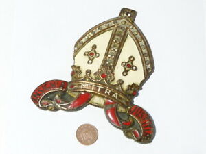 """Antique Enamelled BISHOPS MITRE Shaped Bronze Mount Badge 5"""" Tall  #HB37"""