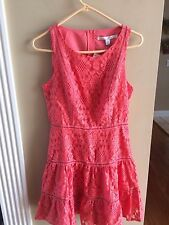 LC Lauren Conrad Tiered Lace Fit & Flare Coral Dress Size 6 - NWT