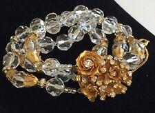 Exquisite Vintage Miriam Haskell Multi-Strand Bracelet~Crystals/RS/Gilt Filigree
