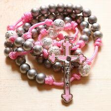 Rosary Pink Paracord Silver Steel Beads Cross Wearable Rosario Catholic Mercy