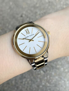Anne Klein Watch * 3751SVTT Modern 2 Tone Gold & Silver Steel Watch for Women