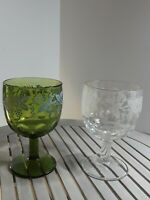 Pair of Vintage Green and Clear Depression Stemmed Wine Glasses Goblets