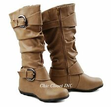 Women Tall Faux Leather Buckle Riding Slouchy Comfy Mid Calf Flat Heel Boots