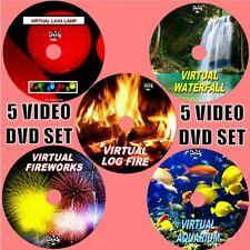 VIRTUAL WATERFALLS LOG FIRE AQUARIUM LAVA LAMP FIREWORKS 5 RELAXING VIDEO DVDS