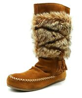 Minnetonka Womens Brown Leather Moccasin Boots Fur Trim Mid-Calf Slip On Size 7