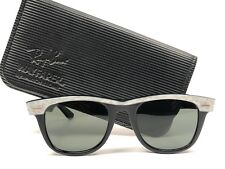 VINTAGE RAY BAN WAYFARER PEARLED WHITE BLACK SMALL GREY LENS BL US SUNGLASSES