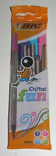 Lot Set x4 Stylo Bic Cristal Fun Mix Couleur 1,6 mm Fourniture Scolaire NEUF