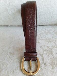"""Lauren Ralph Lauren Sz S 30"""" Classic Brown Italian Leather Belt w Croc Pattern"""