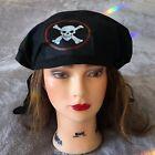 Halloween Black Pirate Hat  Costume Kids White Skull Crossbones