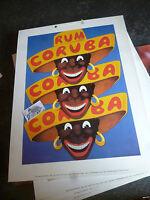 Reedition : Grande Plaque Publicité Carton RHUM CORUBA sur carton