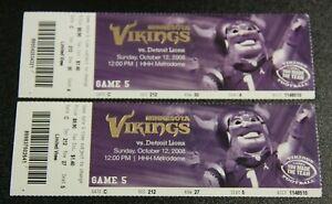 Minnesota Vikings Ticket Stub Season   October 12 2008   Calvin Johnson TD