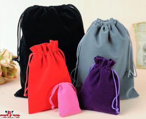 Luxury Soft Velvet Pouches Bag Jewellery Drawstring Wedding Party Gift 4 Sizes
