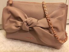 TED BAKER PINK DARNNA SOFT LEATHER BOW KNOT CLUTCH SHOULDER CHAIN BAG BNWT