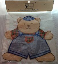 Create a Craft Embroidered Iron On Patch Bear Cap Overalls Plaid Baby