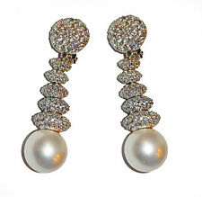 JARIN CZ Round Dangle & White Shell Pearl Drop Sterling Clip Earrings