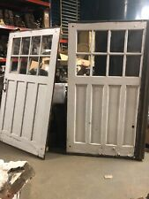 2 vintage c1900 carriage house barn style doors w track 84/48� old glass 9/13�