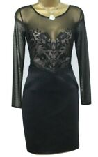 Lipsy Sexy Bodycon Dress 10 Black Long Sleeve Lace Mesh Floral Embroidery Party