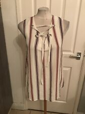 Ladies White, Black And Red Striped Design Dessy Top Size 12 BNWT