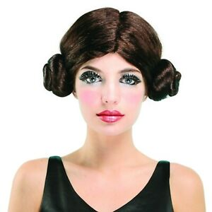 ADULT LADIES SPACE PRINCESS BROWN BUNS COSPLAY LEIA WIG FANCY DRESS ACCESSORY