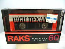 Rare RAKS Blank Audio Cassette Tape HIGH DYNAMIC 60 NORMAL BIAS MADE IN TURKEY