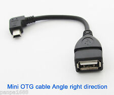 5pcs Right Angle 90D Host OTG Adapter Cable Mini 5pin USB male to USB 2.0 Female