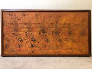 🔥 Antique Mid Century Modern Abstract Oil Painting, Pollock - Signed