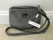 NEW! MARC JACOBS Classic Leather Crossbody Shoulder Bag Purse Grey/Gray