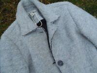 ZARA Trafaluc Smokey Grey Quirky Boho Boiled Wool Coat XS 8-10