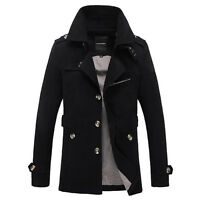 Fashion Winter Mens Trench Coat Slim Casual Jacket Peacoat Long Overcoat Outwear