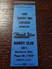 Vintage Matchcover: Howdy Club, Lennox, CA  42