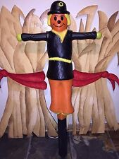 """Rare Vintage 34"""" Union Lighted Halloween/Fall Scarecrow Blow Mold With Stake"""