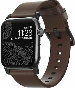 Nomad Strap for Apple Watch 40mm/38mm | Rustic Brown Leather | Black Hardware