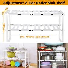Adjustable 2 Tier Steel Under Sink Storage Shelf Kitchen Organize Rack Holder AU