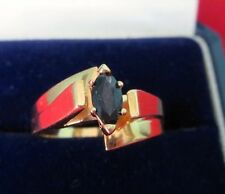 14K Heavy Yellow Gold Magnificent Marquis Sapphire Retro Modern Ring