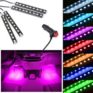 Pink LED Car Interior Accessories Floor Decora Atmosphere Strip Lamp Lights 4x