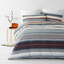 New In 2 Linen Alex Orange Queen Size Quilt / Doona Cover Set Stripes
