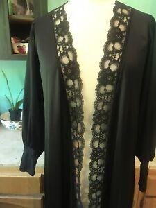 Vintage Avon Black Nylon Lace Open Front Cover Up Peignoir Robe One Size