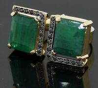 Heavy 18K YG 10.50CT Black diamond & 12 x 10.5mm emerald cocktail ring size 8