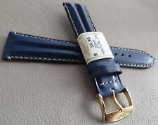 Francia Imbottito Blu Navy Impermeabile 20mm Cinturino Orologio Color Oro Fibbia
