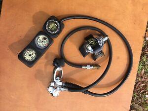 Vintage 1980's Dacor Regulator, US Divers Air Gauge & Compass Lift Bag Inflator