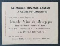 THOMAS-BASSOT Carte d'acheteur Foire de Paris 1939 GEVREY CHAMBERTIN