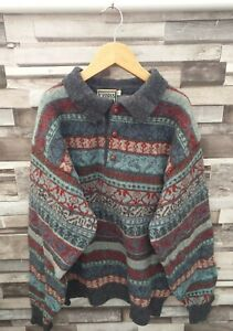 CASSIUS VTG RETRO 90'S GEOMETRIC ABSTRACT SHETLAND WOOL COLLARED COSBY JUMPER M