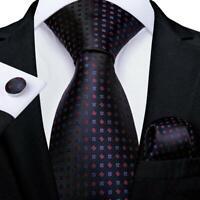 Black Red Silk Tie Dots Mens Newcktie Pocket Square Cufflinks Formal Business