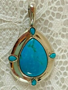 Carolyn Pollack Sterling Silver Multiple Turquoise Stones Enhancer Pendant