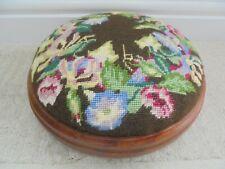 Small vintage round hardwood footstool, wool tapestry, 25cm 1970s
