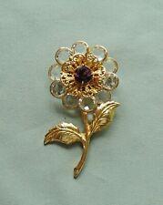 Vintage Unsigned Swarovski Bezel Set Crystal Bead Flower Pin