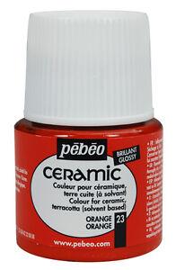 Pebeo CERAMIC Porcelain, China, Terracotta Paint 45ml Enamel Finish - 28 Colours