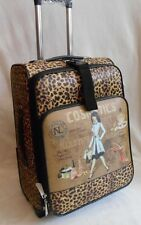 "NICOLE LEE ROLLING SUITCASE 20"" CARRY ON LUGGAGE WHEELED TRAVEL COSMETIC PATTERN"