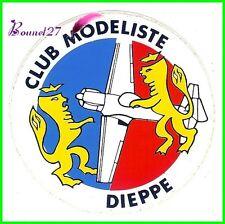 Ancien Autocollant CLUB DE MODELISTE ville de DIPEPPE avion PLane avec 2 lion